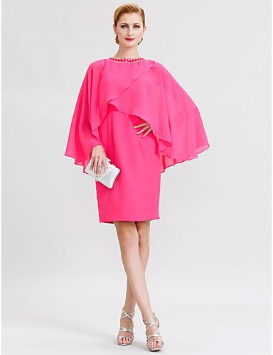 abordables robe invitée mariage-Fourreau / Colonne Bijoux Mi-long Mousseline de soie Robe de Mère de Mariée  avec Détail Cristal par LAN TING BRIDE®