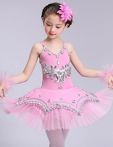 preiswerte Ballettbekleidung-Tanzkleidung für Kinder / Ballett Kleider Mädchen Leistung Elasthan / Tüll Kristall / Applikationen Ärmellos Kleid