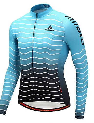 cheap Cycling Clothing-Miloto Men's Long Sleeve Cycling Jersey - Sky Blue+White Gradient Bike Jersey Top Sports Winter Polyster Mountain Bike MTB Road Bike Cycling Clothing Apparel / Stretchy