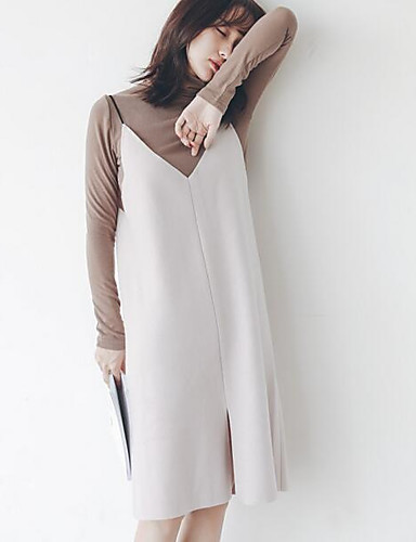 Women's Going out Street chic Cotton A Line Dress - Solid Colored Strap