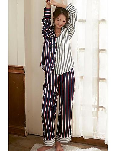 Women's V Neck Pajamas - Print, Striped