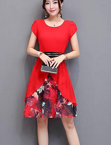 abordables Robes Imprimées-Femme Sortie Sophistiqué Au dessus du genou Trapèze Robe - Imprimé, Fleur Rouge Eté Noir Rouge Jaune L XL XXL Coton Manches Courtes