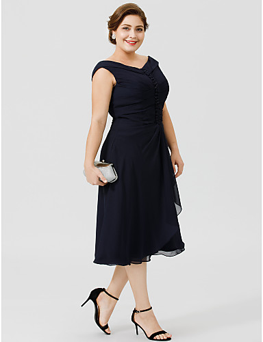 A-Line V Neck Tea Length Chiffon Mother of the Bride Dress with Buttons Pleats by LAN TING BRIDE®