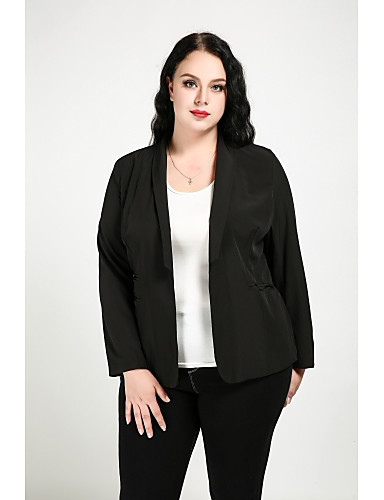 Cute Ann Women's Cute Street chic Plus Size Blazer-Solid Colored