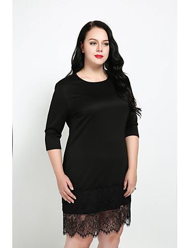 Women's Plus Size Daily Vintage / Street chic Sheath Dress - Solid Colored Lace Fall Cotton Black XXXXL XXXXXL XXXXXXL