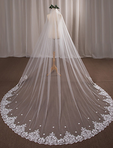 e10b57645a5ac One-tier Wedding Veil Cathedral Veils with Appliques Lace   Tulle   Angel  cut   Waterfall