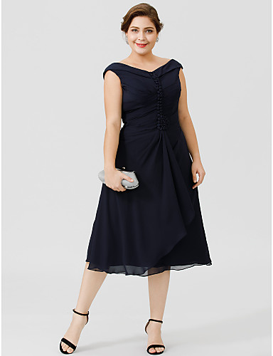 Plus Size A-Line V Neck Tea Length Chiffon Mother of the Bride Dress with Buttons Pleats by LAN TING BRIDE®