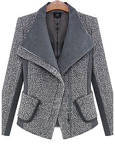 Women's Daily Fall / Winter Regular Jacket, Solid Colored Shirt Collar Long Sleeve Cotton / Polyester Black / Gray M / L / XL