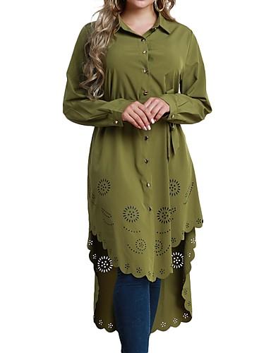 billige Topper til damer-V-hals Skjorte Dame - Ensfarget Grønn
