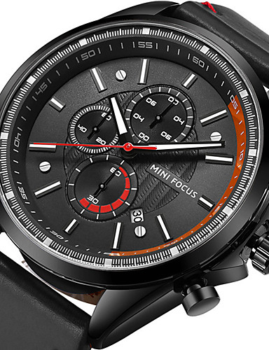 Men's Sport Watch / Wrist Watch Japanese Calendar / date / day / Stopwatch / Noctilucent Genuine Leather Band Luxury / Casual / Fashion Black / Blue / Brown