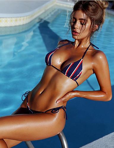 Női Pánt Rubin Bikini Fürdőruha Nyomtatott S M L / Sexy
