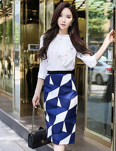 abordables Jupes-Femme Rétro Vintage Chic de Rue Sortie Travail Crochet / Moulante Jupes - Géométrique Bloc de Couleur Bleu Marine S M L