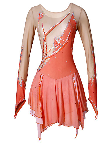 Figure Skating Dress Women's Girls' Ice Skating Dress Spandex Rhinestone Flower(s) High Elasticity Performance Practise Skating Wear