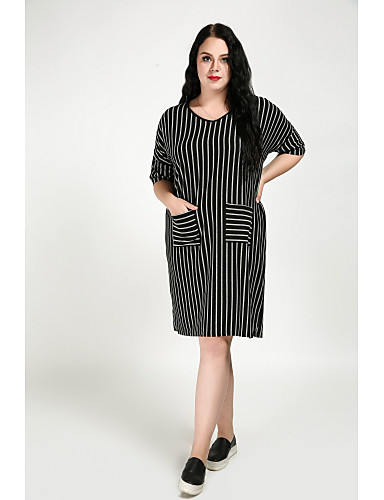 Cute Ann Women's Plus Size Vintage Cute Shift Dress - Striped