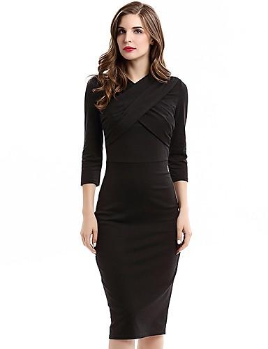b108bb19b950 Γυναικεία Μεγάλα Μεγέθη Πάρτι Δουλειά Βαμβάκι Εφαρμοστό Θήκη Φόρεμα -  Μονόχρωμο