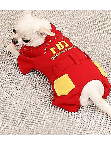 Собака Комбинезоны Одежда для собак Буквы и цифры Красный Ткань   Пух Костюм  Для домашних животных На каждый день a219eb1d8fad0
