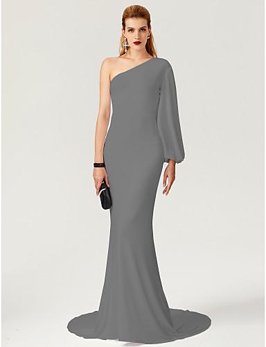 1965846f7c5a0 عامودي كتف واحد ذيل مثل الفرشاة جورسيه حفلة رسمية فستان مع   بواسطة TS  Couture®