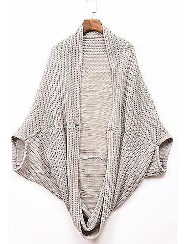 Damen Standard Strickjacke-Lässig/Alltäglich Solide V-Ausschnitt Langarm Wolle Winter Herbst Mittel Mikro-elastisch