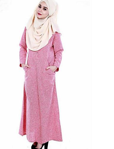 Damen Lose Kleid-Alltag Druck Rundhalsausschnitt Maxi Langärmelige Polyester Herbst Mittlere Hüfthöhe Mikro-elastisch Undurchsichtig
