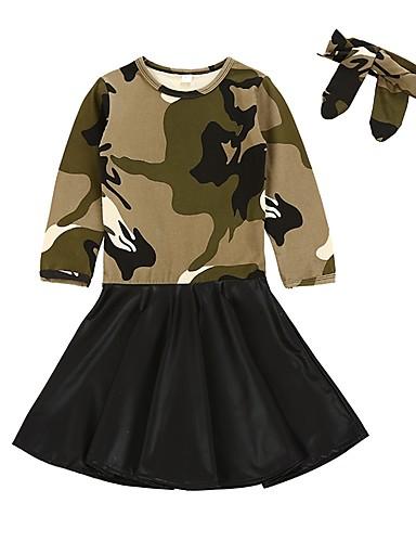 Sukienka Poliwęglan Bawełna Dziewczyny Codzienny Urlop kamuflaż Wiosna, jesień, zima, lato Długi rękaw Moda miejska Army Green