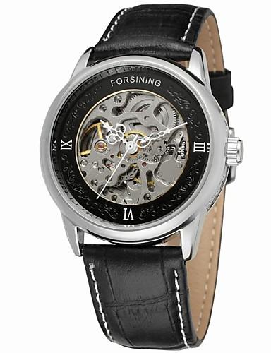 FORSINING Męskie Nakręcanie automatyczne Zegarek na nadgarstek Hollow Grawerowanie Skóra Pasmo Vintage Na co dzień Do sukni / garnituru
