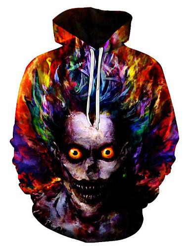 cheap Happy Halloween-Men's Plus Size Punk & Gothic Long Sleeve Loose Hoodie & Sweatshirt - 3D / Skull Hooded Red 4XL / Fall / Winter