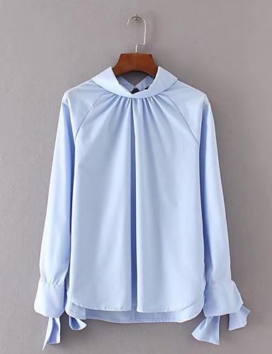 Damen Solide Ausgehen Lässig/Alltäglich Hemd,Ständer Langarm Baumwolle Leinen Dünn Mittel