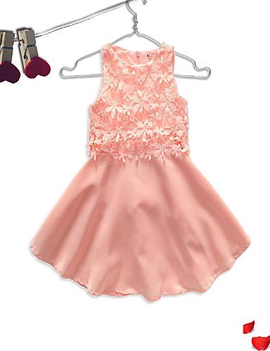 Dzieci Dla dziewczynek Casual Wyjściowe Solidne kolory / Kwiaty / Koronka Printing Bez rękawów Sukienka / Bawełna / Śłodkie / Księżniczka
