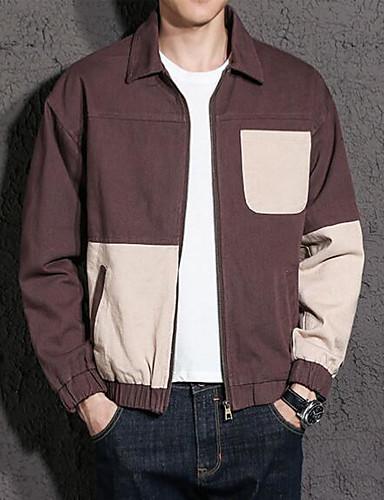 Herren Einfarbig Einfach Ausgehen Lässig/Alltäglich Jacke Herbst Standard Baumwolle