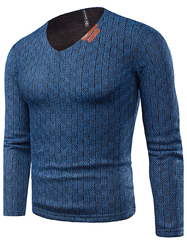Herren Standard Pullover-Lässig/Alltäglich Übergröße Einfach Street Schick Solide V-Ausschnitt Langarm Baumwolle Andere Dick