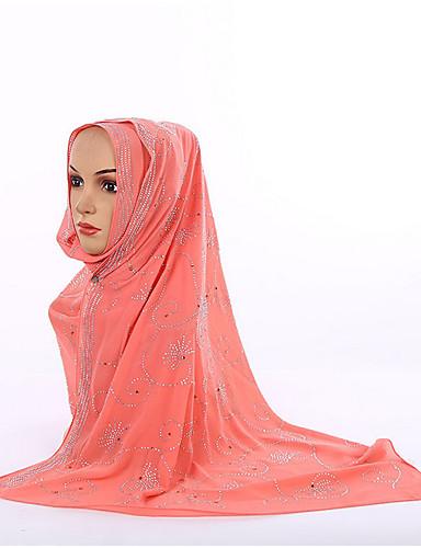 Damen Ganzjährig Chiffon Hidschab, Punkt Grün Weiß Orange Rosa Gelb