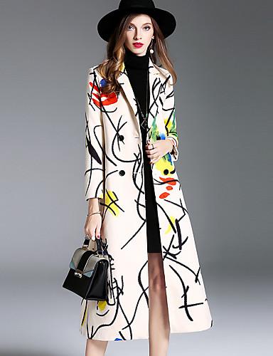 Damen Druck Einfach Freizeit Street Schick Anspruchsvoll Alltag Ausgehen Mantel Winter Herbst Lang Wolle Modal Polyester