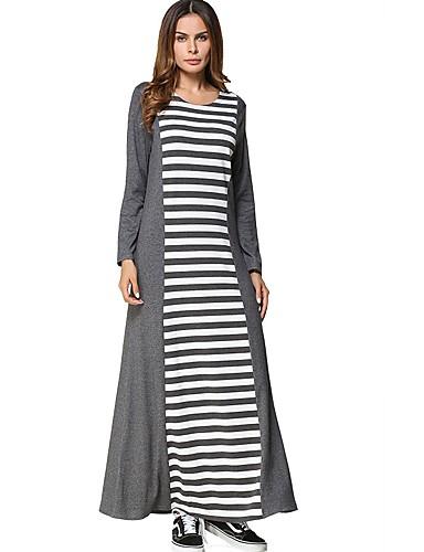 Damen Swing Kleid-Alltag Gestreift Rundhalsausschnitt Maxi Langärmelige Baumwolle Alle Jahreszeiten Mittlere Hüfthöhe Mikro-elastisch