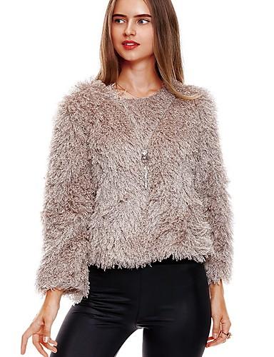 Damen Standard Pullover-Alltag Freizeit Solide Rundhalsausschnitt Langarm Lammpelz Mittel Unelastisch