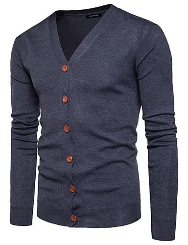 Męskie Codzienny Aktywny Solidne kolory Długi rękaw Regularny Sweter rozpinany, W serek Jesień / Zima Wino / Khaki / Królewski błękit L / XL / XXL