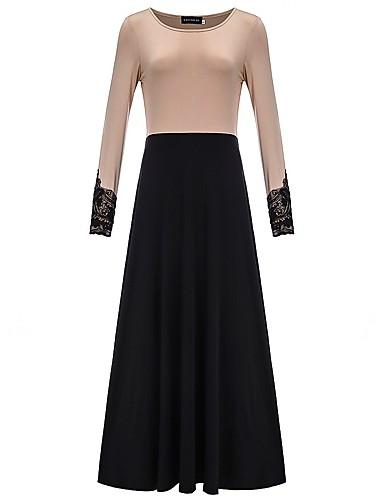 Damen Swing Kleid-Party Einfarbig Rundhalsausschnitt Maxi Langarm Polyester Frühling/Herbst Mittlere Hüfthöhe Mikro-elastisch Mittel