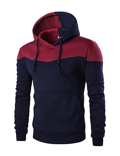 Męskie Na co dzień Moda miejska Długi rękaw Bluza z Kapturem - Jendolity kolor Wielokolorowa Kaptur