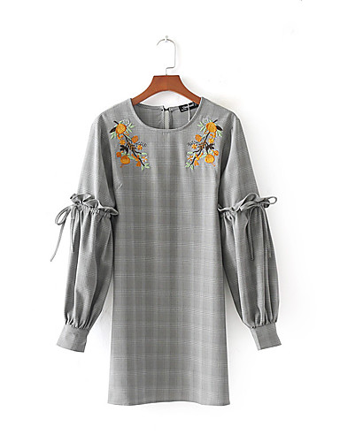 Damen Lose Kleid-Ausgehen Lässig/Alltäglich Solide Blumen Stickerei Rundhalsausschnitt Übers Knie Langarm Baumwolle Andere Mittlere