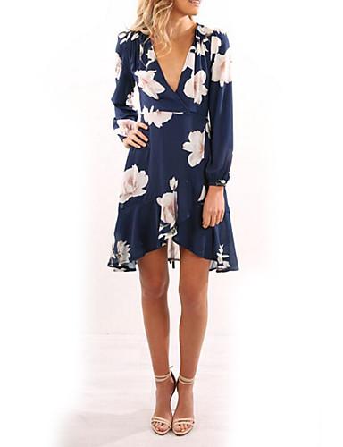 Damen Hülle Kleid Blumen Asymmetrisch V-Ausschnitt
