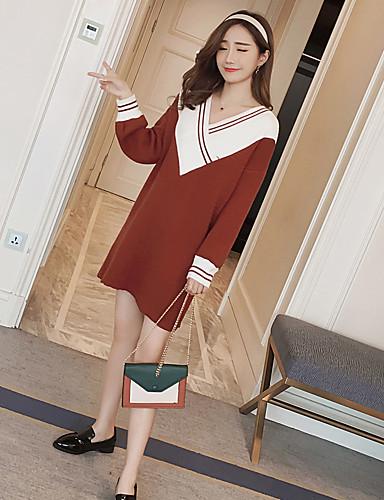 Damen Strickware Kleid-Lässig/Alltäglich Einfarbig V-Ausschnitt Midi Langarm Acryl Mittlere Hüfthöhe Dehnbar Dick