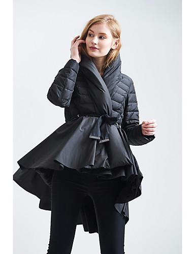Damen Daunenjacke Mantel Retro Ausgehen Lässig/Alltäglich Solide-Andere Langarm