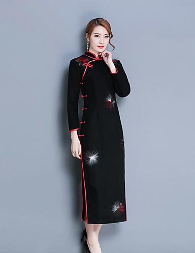 Damskie Wzornictwo chińskie Bodycon Pochwa Sukienka Nadruk Półgolf Wysoka Talia
