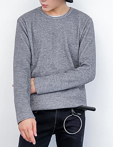 Herren Standard Pullover-Arbeit Solide Rundhalsausschnitt Langarm Baumwolle Mittel Mikro-elastisch