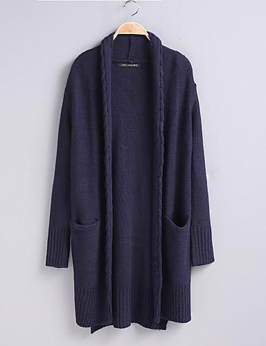 Damen Standard Strickjacke-Ausgehen Lässig/Alltäglich Solide Halter Langarm Baumwolle Andere Dünn Mittel Mikro-elastisch