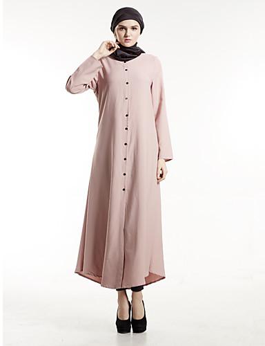 Damen Etuikleid Kleid-Party Boho Solide Rundhalsausschnitt Maxi Langarm Polyester Herbst Mittlere Hüfthöhe Unelastisch Mittel