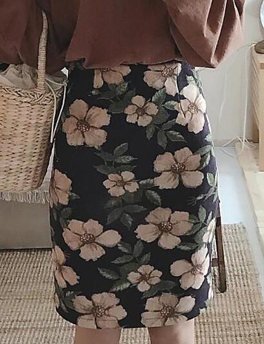 Damen Urlaub Über dem Knie Röcke Druck Frühling Winter
