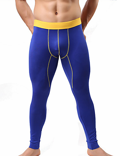 Men's Sexy Long Johns Solid Colored 1 Piece Red Yellow Royal Blue S M L / Winter