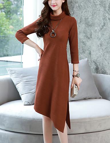 Damen Arbeit / Ausgehen Strickware Kleid - Gespleisst, Solide Asymmetrisch Rollkragen