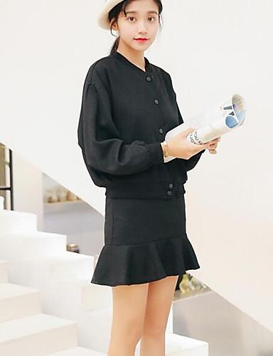 Damen Solide Street Schick Ausgehen Lässig/Alltäglich Hemd Rock Anzüge,Rundhalsausschnitt Herbst Langarm Baumwolle