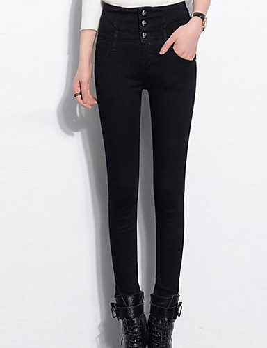 Damen Hose Mikro-elastisch Jeans Hose,Baumwolle Solide
